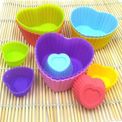 heart silicone baking mold mould cup cake muffin jelly dessert chocolate soap