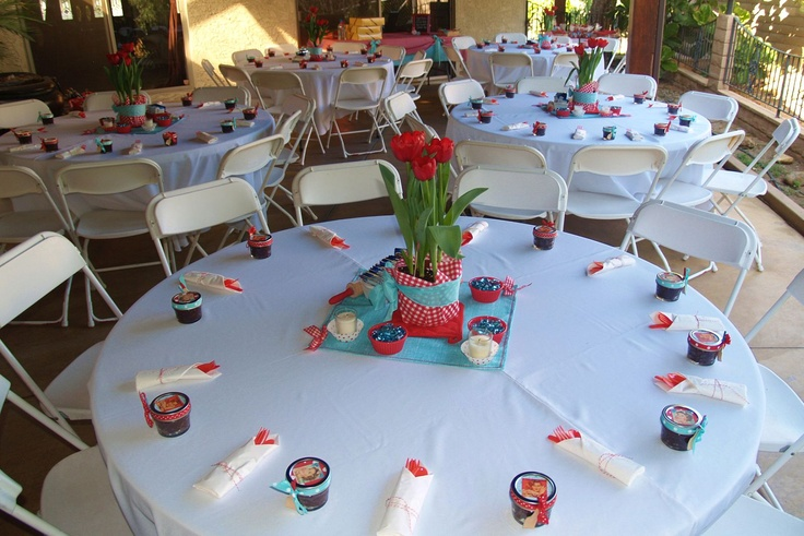 Attractive Table Settings At The Baby Shower. We Handmade The Centerpieces With A  Lucky 2.50 Find At Walmart On The Potted Tulips. We Cut The Fabric And  Wrappu2026