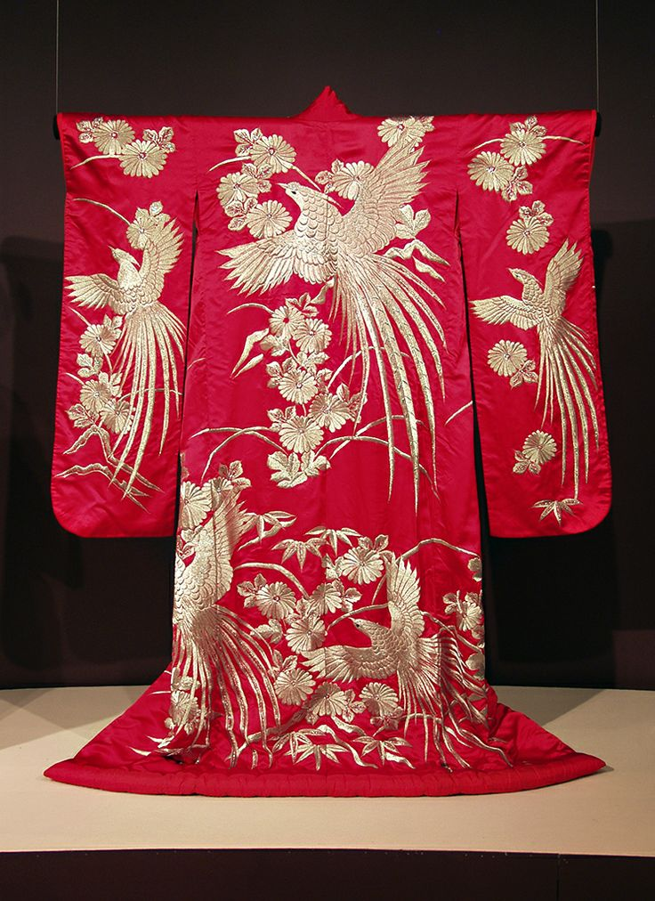 Red furisode embroidered with phoenixes and chrysanthemums, Japanese, 20th century