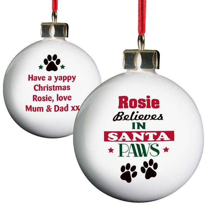 Personalised Santa Paws Pets Christmas Bauble