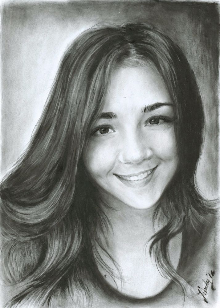 A4 Custom original portrait from your photo Dry Brush technique #Realism