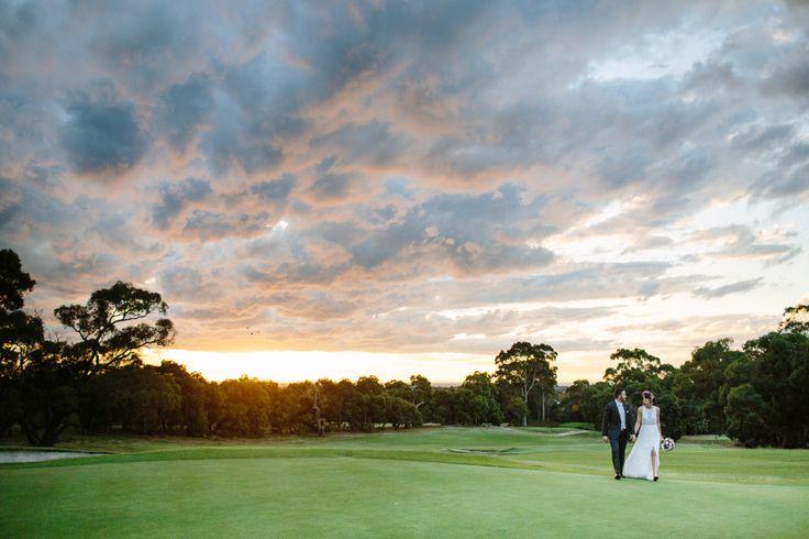 Peninsula Country Club.  Golf Course Wedding.  Sunset Wedding Photos.