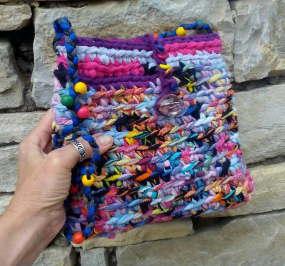 Colorful Upcycled handbag Recycled rag shoulder bag Unique