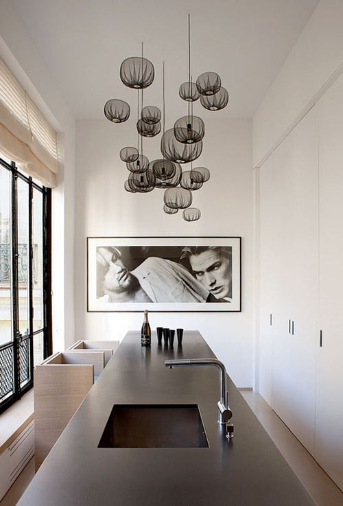 Pierre Yovanovitch house    like the hanging group of spheres