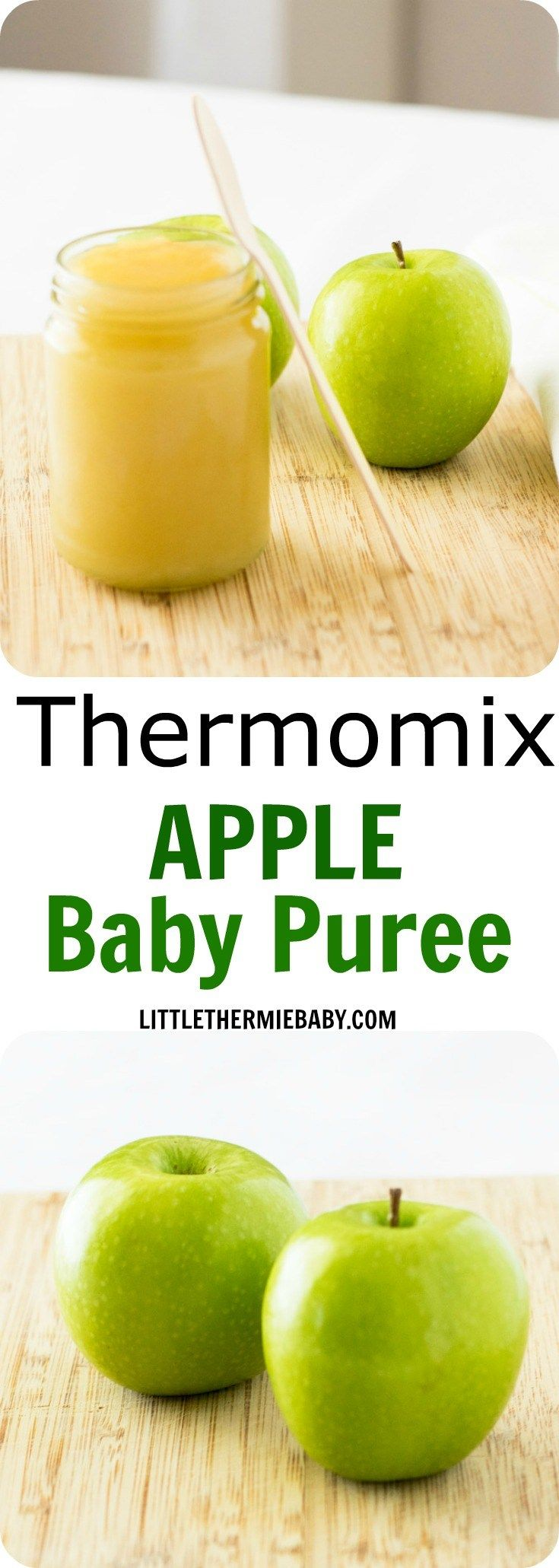 Thermomix Apple Baby Puree - Gorgeous, smooth, sweet apple puree in your Thermomix for your bub. They're naturally sweet and babies really love them. All 3 of my children loved apples as a first taste. And so quick and easy - it's great mixed with rice cereal or porridge. It will be a hit.
