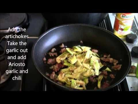 """Tagliatelle with Artichokes and Pancetta"" Check out this video recipe which uses the Italian Garlic And Chili spice from ARIOSTO! It even calls for tagliatelle pasta and saffron which can be purchased at our retail online store as well. Buy the Italian Garlic & Chili spice here: http://www.gourmetimportshop.com/Ariosto-s/110.htm"