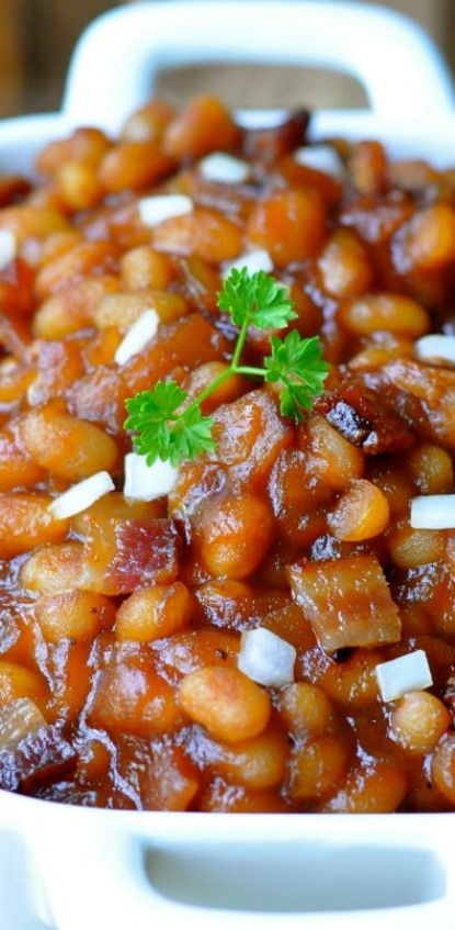 Brown Sugar Maple Baked Beans with Bacon