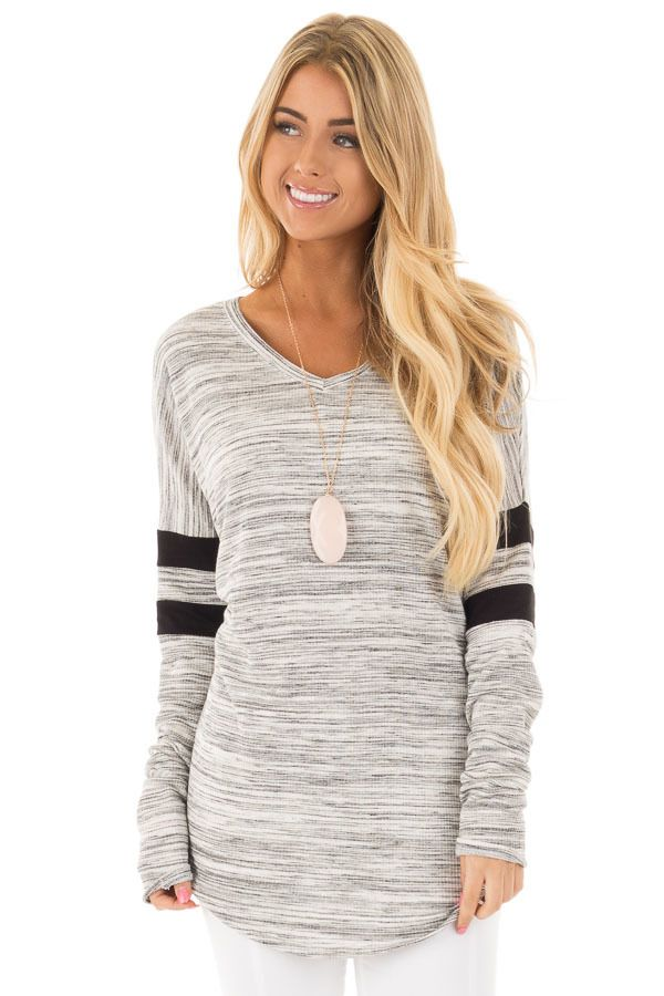Heather Grey Two Tone V Neck Top with Black Striped Sleeves