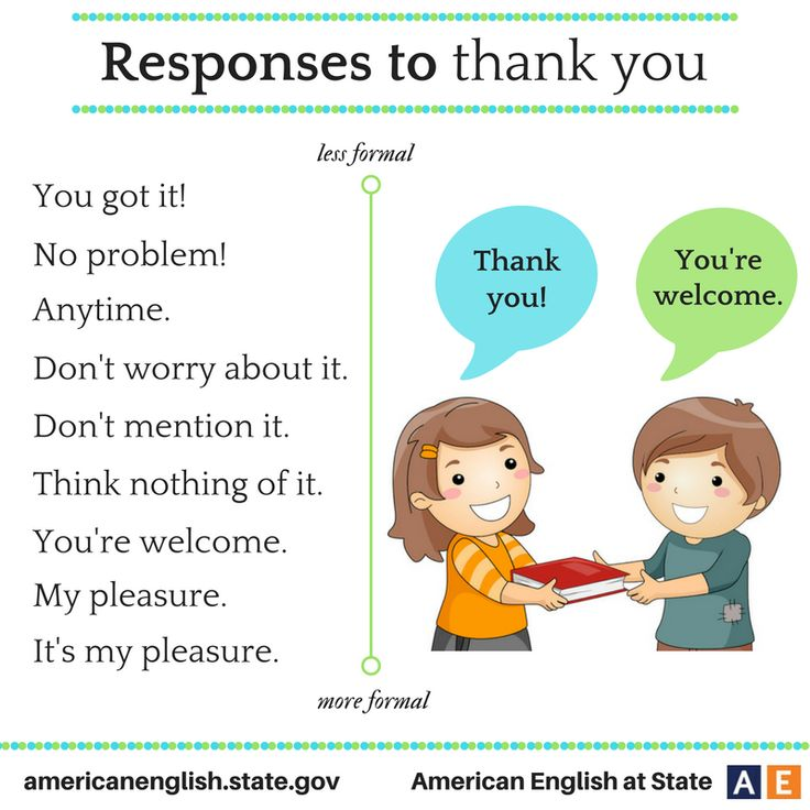 """Responses to """"Thank you"""""""