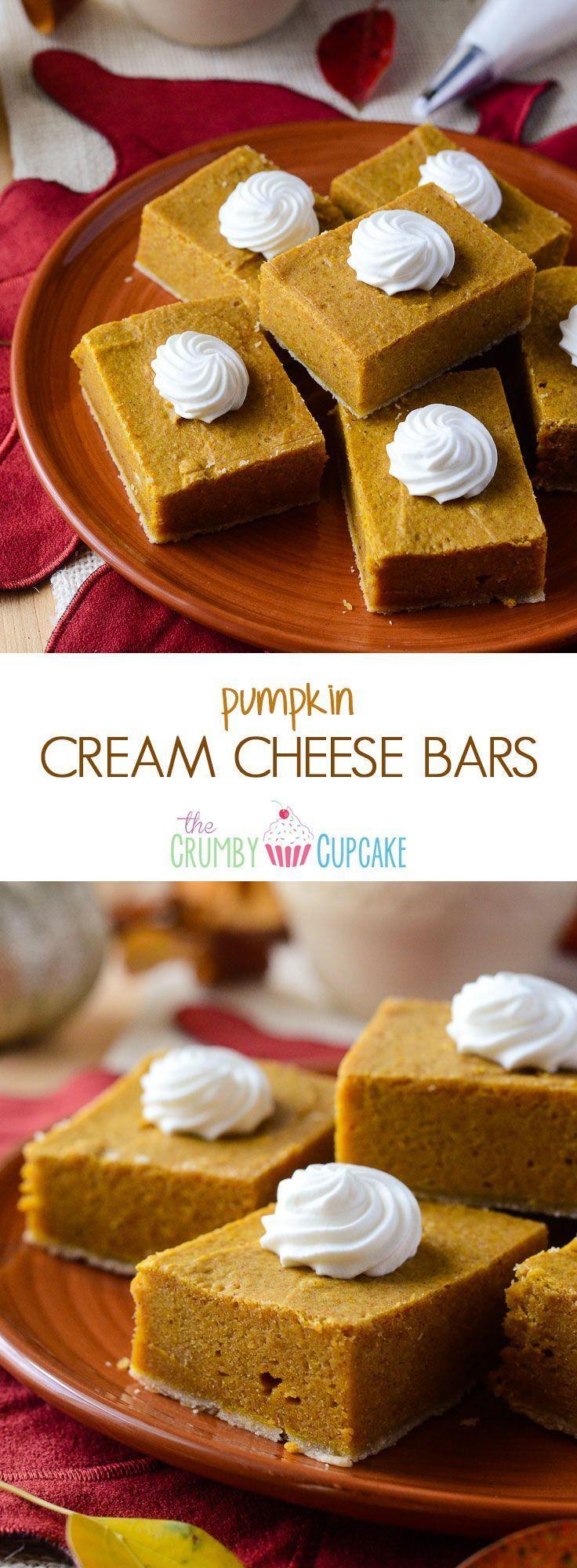 Pumpkin Cream Cheese Bars | Creamy, decadent little pumpkin pie bars, made with lots of love and cream cheese!