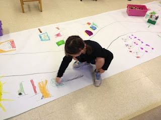 """Goldilocks/3 Bears.  1 large sheet of bulletin board paper, draw a path down the middle.  At one end of the path  write """"Once upon a time"""" and at the other end  write """"The End"""".  Retell the story together and adding basic drawings along the sides of the path (such as 3 bears and then a little further down a girl and then 3 bowls, etc).  Let the children take turns walking the path while retelling the story"""