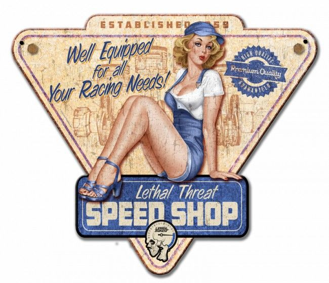 Lethal Threat Speed Shop Pinup Metal Sign 14 x 12 Inches - Vintage and Retro Tin Signs - JackandFriends.com