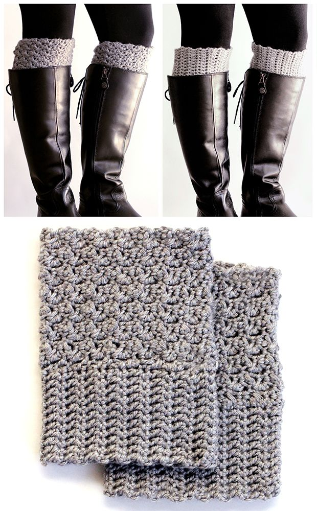 FREE PATTERN. Get the cute chunky sock look, without having the bulk in your boots. Crochet these easy reversible boot cuffs.