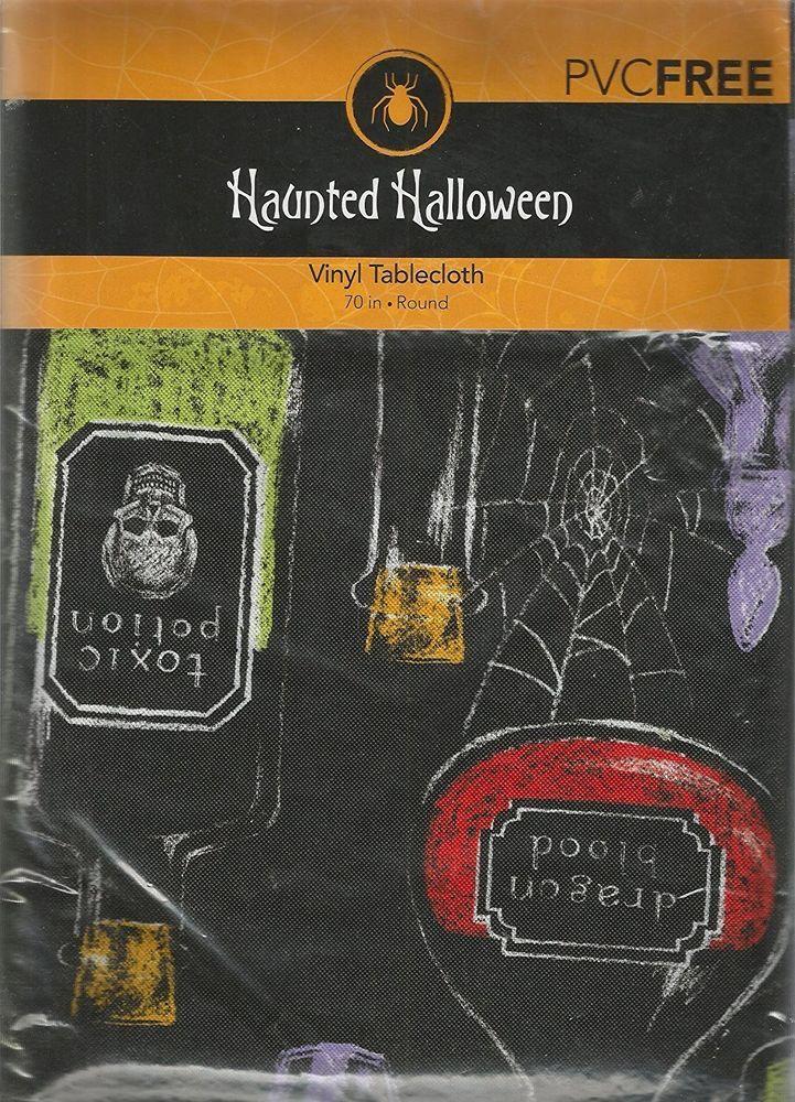 "Graveyard Potions Haunted Halloween Vinyl Tablecloth 70"" Round PVC Free Black #NewBridge"