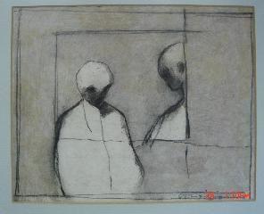 Two Figures, 1967, Richard Ciccimarra, mixed media, 7 3/4 x 9 1/2 in., Victoria, BC, Canada.