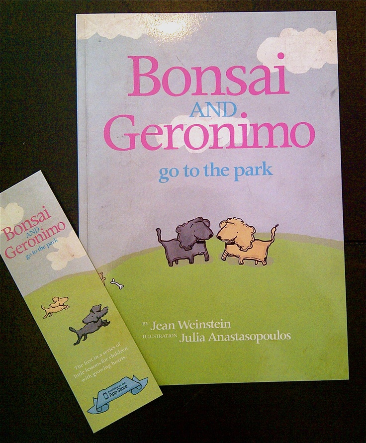 Bonsai & Geronimo go to The Park is the first in a series of Children's books written by Jean Weinstein and illustrated by Julia Anastasopoulos.  Based on two beloved pets, Bonsai and Geronimo, toy poodles who live in Cape Town, South Africa.  There is also an interactive App to match - go to http://www.bonsaiandgeronimo.com/ to find out more and visit Blink to get your hands on a copy!