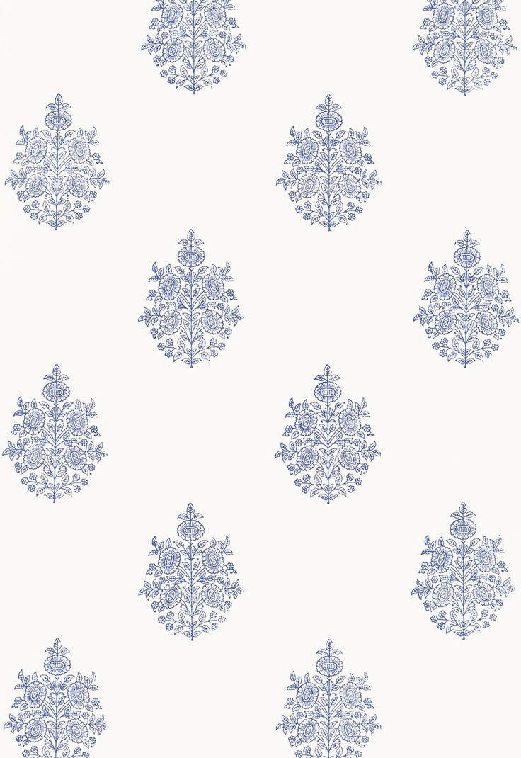 """SchumacherAsara Flower Delft Wallcovering SKU - 5005321 Match - Straight Width - 27"""" Horizontal Repeat - 13.5"""" Vertical Repeat - 13.5"""" Country of Finish - India This product is featured in Jaipur   Hand Block Wallcoverings, BK722003311. Available colorways View All 5005320 - Oyster 5005321 - Delft 5005322 - Water Blue 5005323 - Indigo 5005324 - Aubergine"""