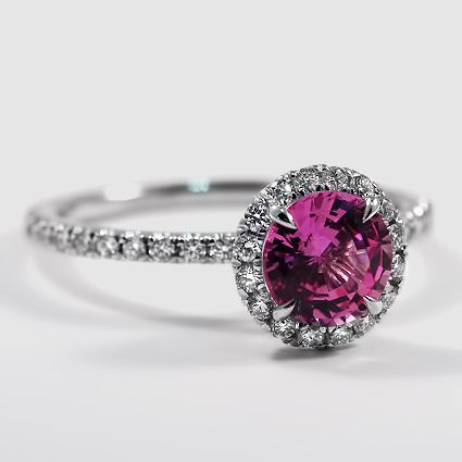 18K WHITE GOLD WAVERLY DIAMOND RING  Set with 6mm Round Pink Sapphire  PRICE: $3,325 18K WHITE GOLD  WAVERLY DIAMOND MATCHED SET (3/4 CT. TW.) WITH 6MM LAB CREATED ROUND RUBY $3,940