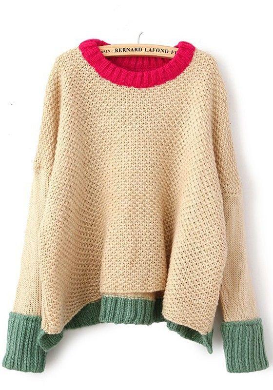 Beige Plain Round Neck Long Sleeve Dacron Sweater