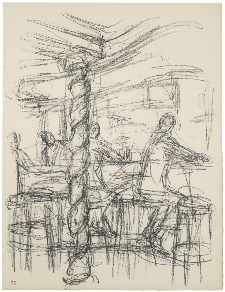 Alberto Giacometti Chez Adrien'in barı (III) The bar at Chez Adrien (III) 1969'da Sonsuz Paris'te yayımlanan taşbaskı, 52. Plaka Lithograph published in 1969 in Paris without End, plate 52, 42,5 x 32,5 cm Giacometti Vakfı Koleksiyonu, Paris, env. 1994-0865-52 Giacometti Foundation Collection, Paris, inv. 1994-0865-52 © Estate Giacometti (Fondation Giacometti + ADAGP) Paris, 2015 #GiacomettiPera