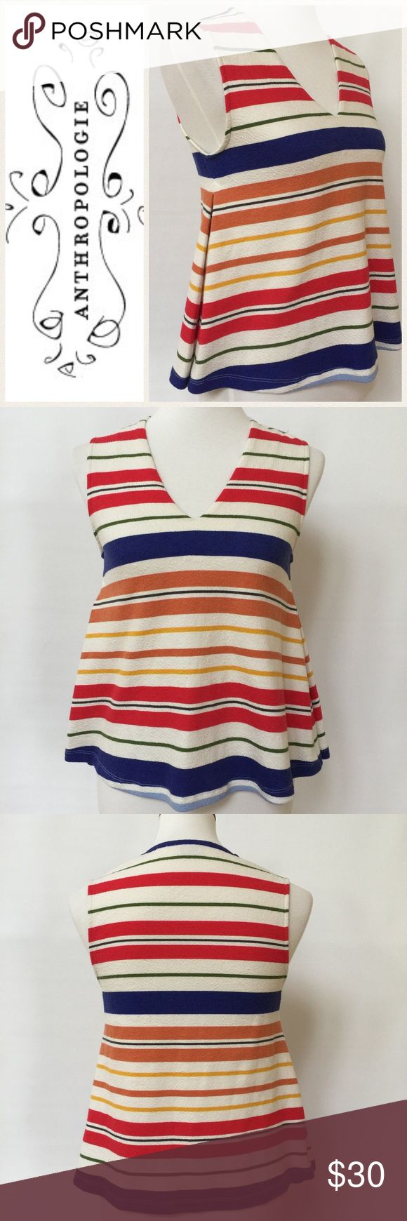 """Postmark for Anthropologie Striped Tank EUC. Swing style, crop tank. Side pleat present to both sides. Combination of multi colored stripes on a off white background. Fabric has a """"crinkle"""" texture, see close up. Measurements are as follows and approximate, taken while garment was laying flat. Underarm to underarm: 17"""". Shoulder to hem 21"""". Logo go is internet stock photo. All other photos are of actual top. Anthropologie Tops"""