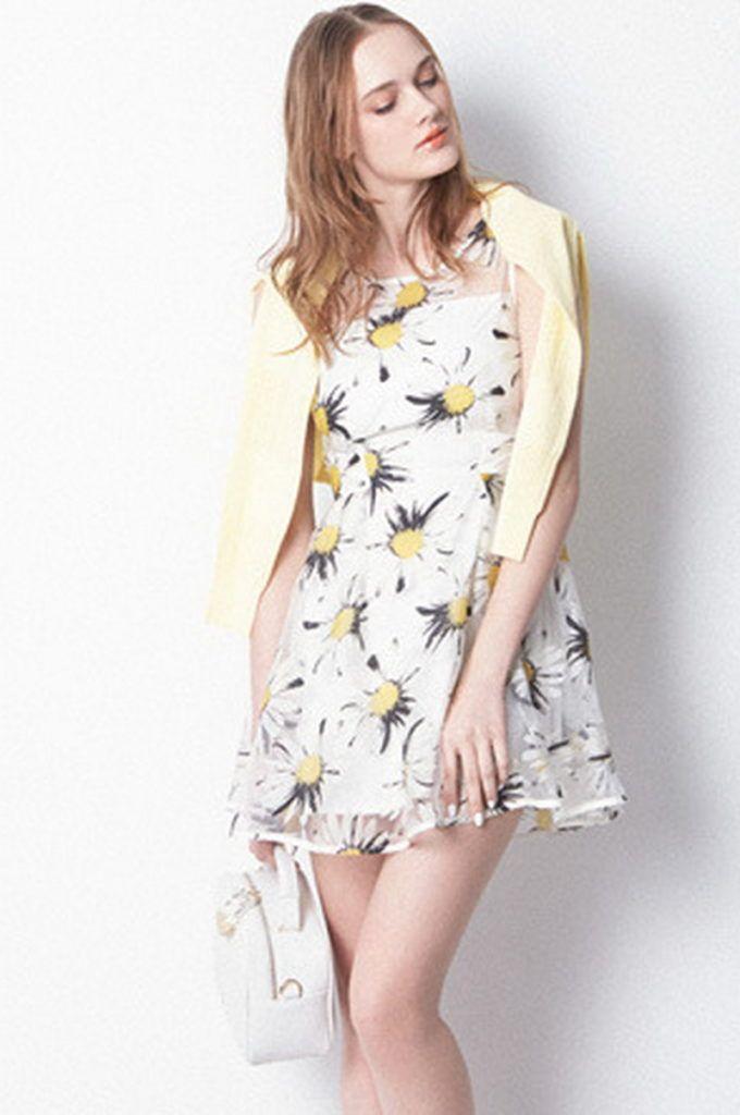 Sleeveless Shirt Collar White Black Simple Floral Dress Short Dresses CN0134 Zenb.Com