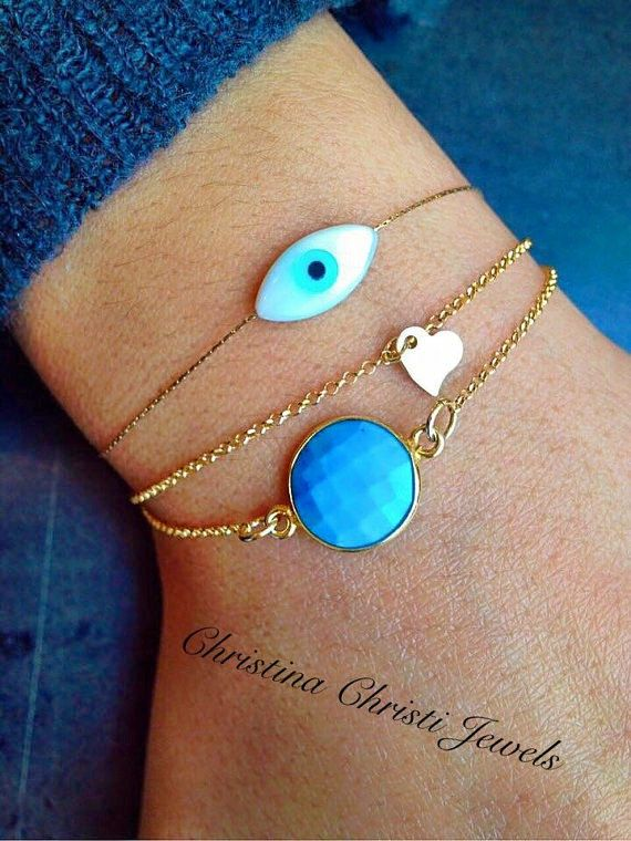 Gold Heart Bracelet Ocean Blue Stone with by ChristinaChristiJls