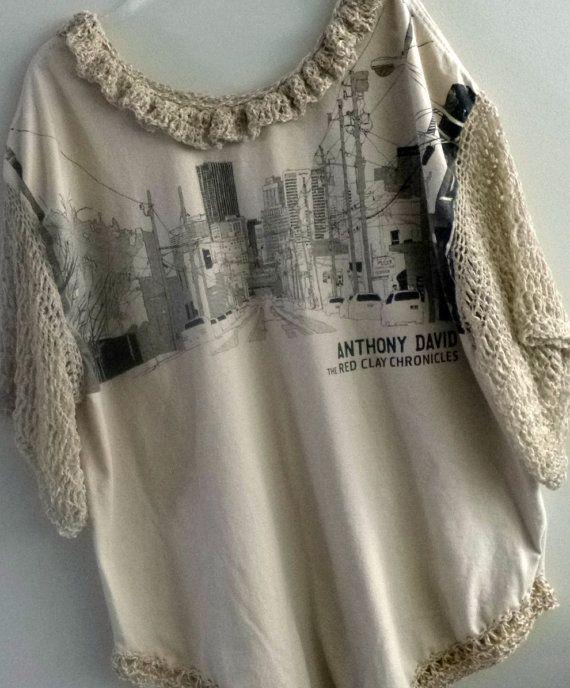 Womens Fashion Upcycled Anthony David Tee Shirt With by niseylee, $35.00