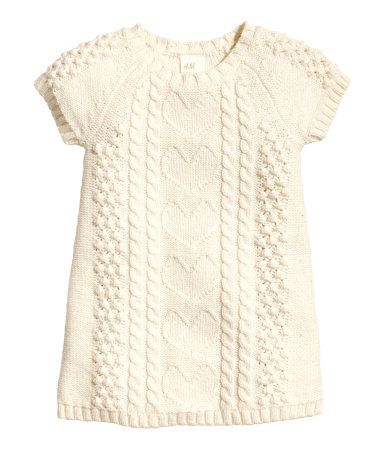 Natural white pattern-knit dress, would look cute with tights   H&M US