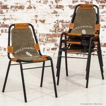 Set of 4 - Industrial Visitor Chair - Vintage Cloth - Milan Direct  #MilanDirectIndustrial #EventFurniture #Chair