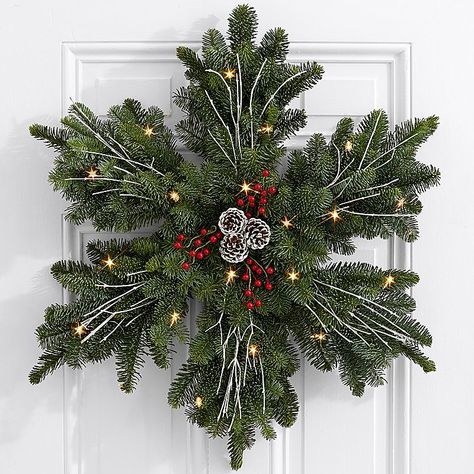 24″ Evergreen Snowflake Wreath