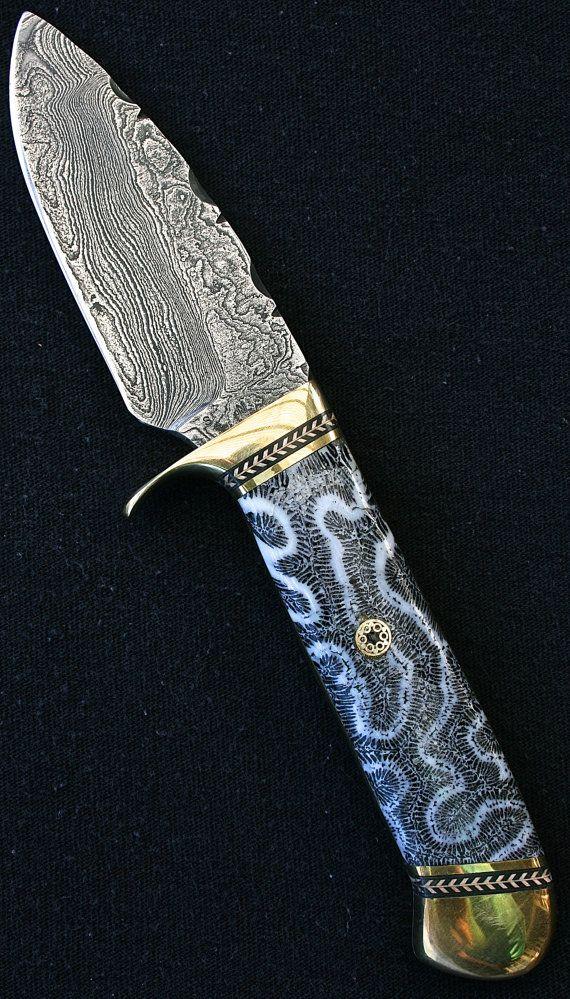 Custom handmade knife. Damascus steel brain coral by Stefanknives