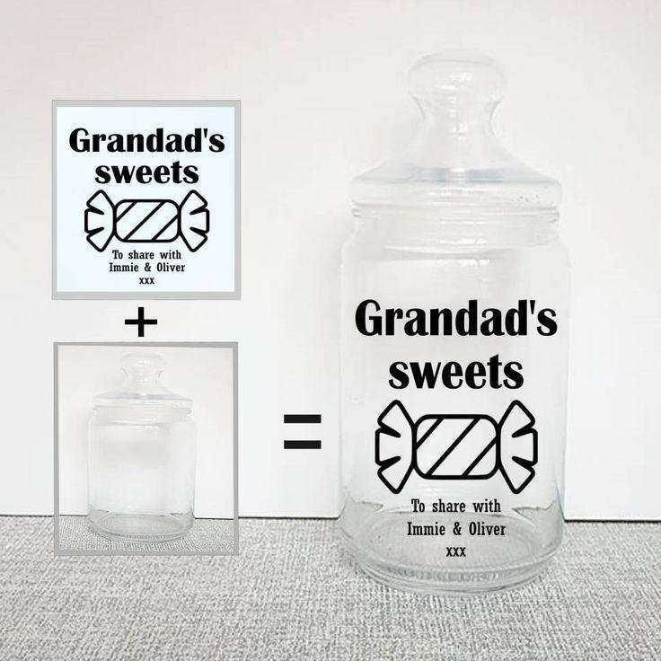 Sweet jar decal personalised decal gift for grandad jar labels jar stickers vinyl jar stickers sweet lovers personalised vinyl