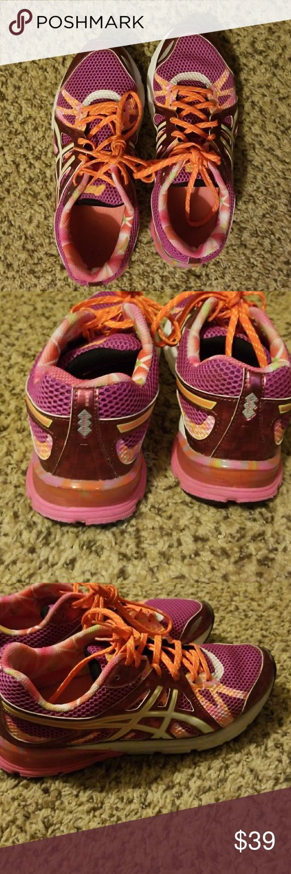 Asics gel shoes Hot pink with orange laces and detailing. Exellent condition as you can tell from the pictures. Cleaned and sanitized, only worn a few times. Feel free to ask for more pics. Make an offer! 😻 Asics Shoes Athletic Shoes