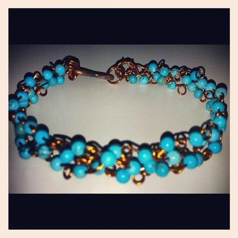 Self made handwoven turquoise bracelet