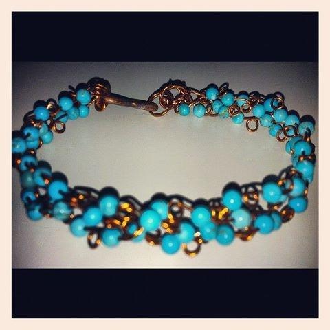 Self made handwoven turquoise bracelet