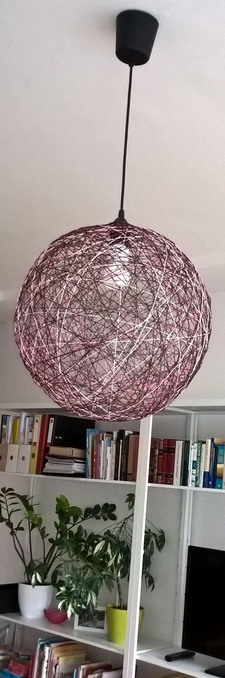 Brown-pink yarn lamp + Fjalkinge shelf
