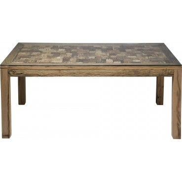 Une #table en #bois élégante et originale grâce à son plateau travaillé de tampons aux motifs différents. Idéale pour apporter une touche d'authenticité à votre intérieur. Table en bois Memory 180x90 Kare #Design