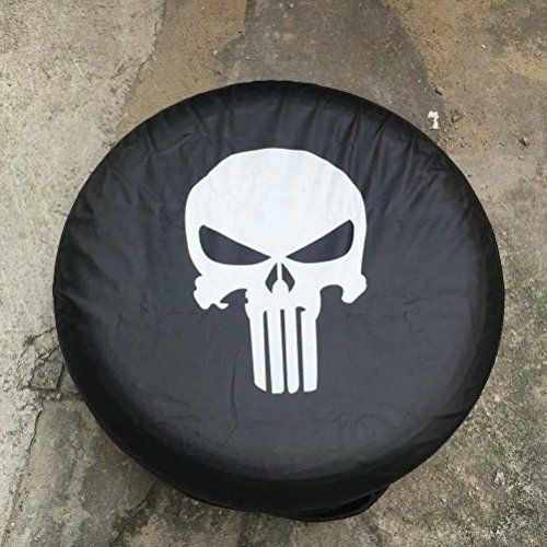 Camoo White Jeep Punisher Skull Logo Jeep Spare Tire Cover