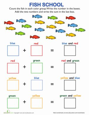 Fish School Addition First grade math worksheets
