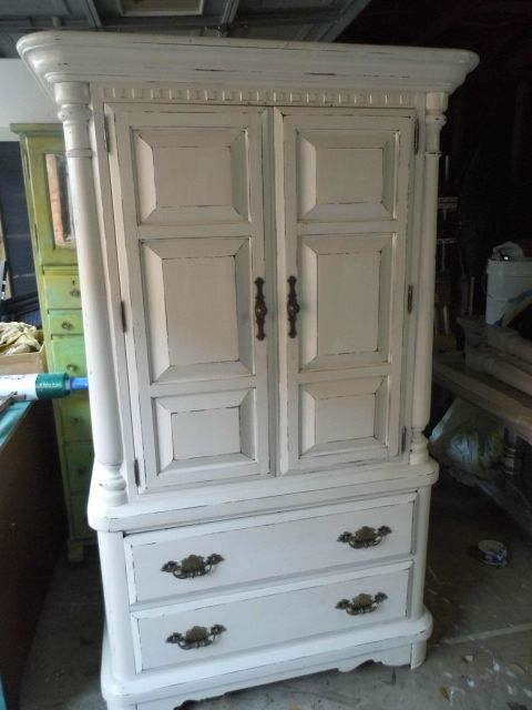 This Is A Really Cute Armoire Painted Antique Shabby Chic White. I Am  Picturing It