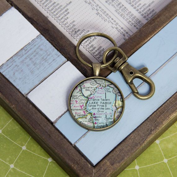 Lake Tahoe Map Keychain, Sierra Nevada Mountains, Vintage Map Pendant, Bronze Key Chain, Travel Gifts, Vacation Gifts, Skying Gifts
