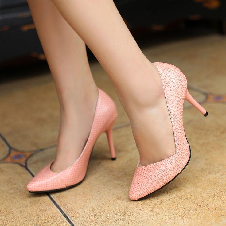 Дамы женская обувь Змея Печати Насосы новые 2014 сексуальные тонкие пятки острым носом на высоких каблуках партия весна осень мода Одного обувь