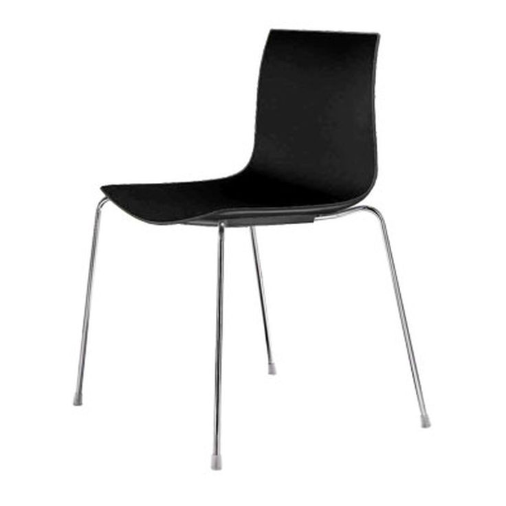 Arper Catifa 46 Stuhl - Vierfußgestell, Polypropylen, schwarz