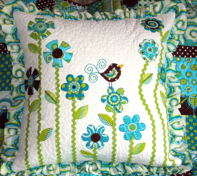 Same cute pillow with a different design.  I love the ruffled edge.