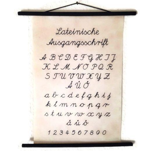 Rollbild Lehrtafel Lateinische Ausgangsschrift ABC von unique-STUFF via dawanda.com