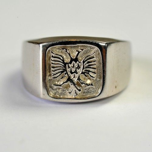 Unique handmade ring for men made of silver. It has the eagle crafted on it.