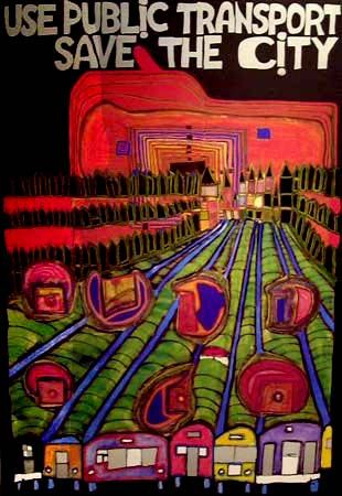 "Hundertwasser ""Save the City"" original poster with foil"