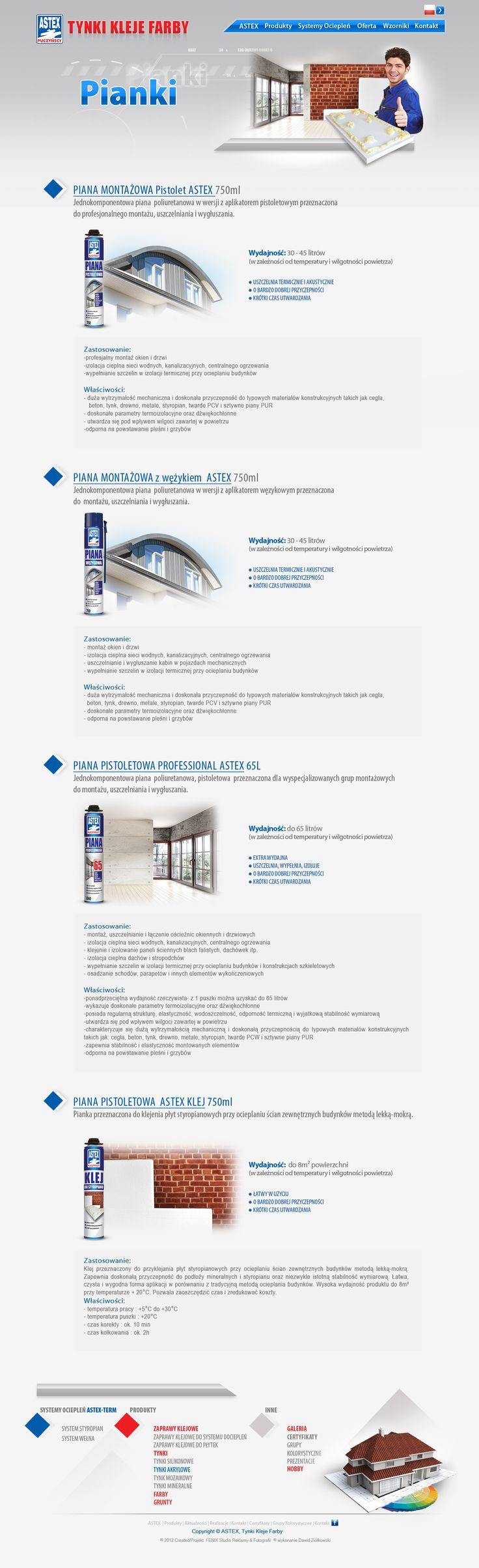Pianki produkcji Astex Puczyńscy. http://www.astex-tynki.pl/produkty/pianki/