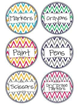 78 Chevron Classroom Supply Labels- Round